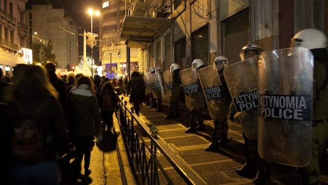 Greek Police Tear-Gassed Protesters Last Friday