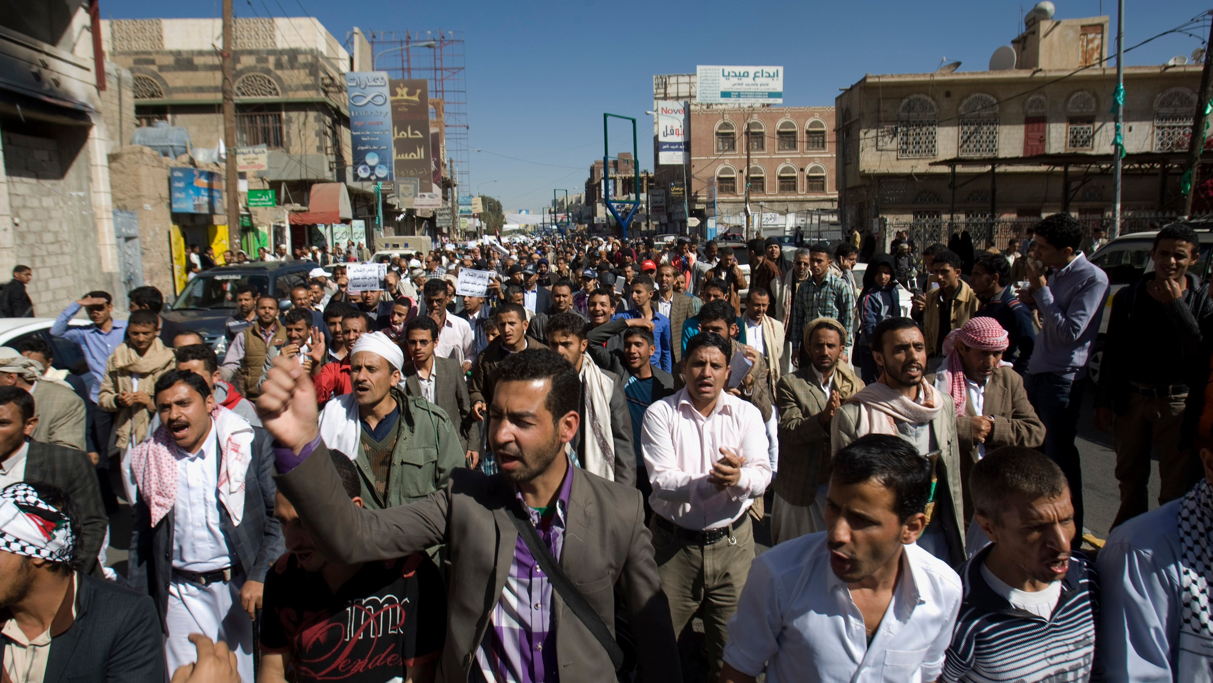 Thousands Protest Houthi Takeover as Yemen Teeters on the Brink of Chaos