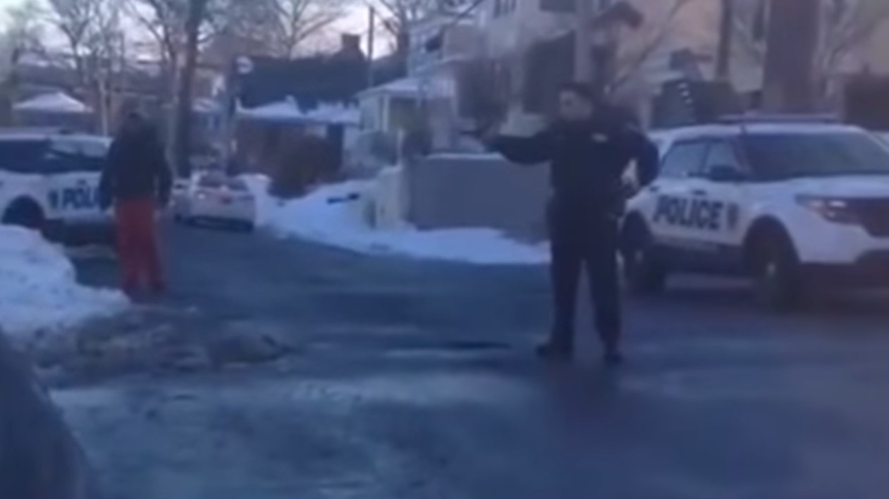 Video Claims to Show Cop Aiming Gun at Kids After Snowball Fight
