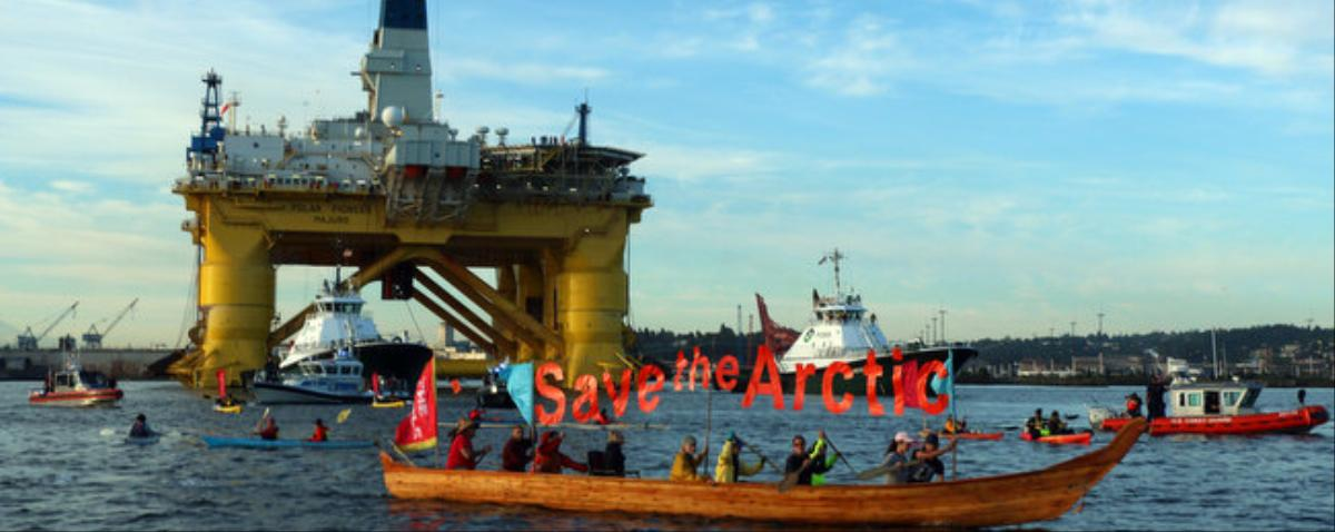 Activists Try to Block Shell's Oil Rig As It Departs for the Arctic