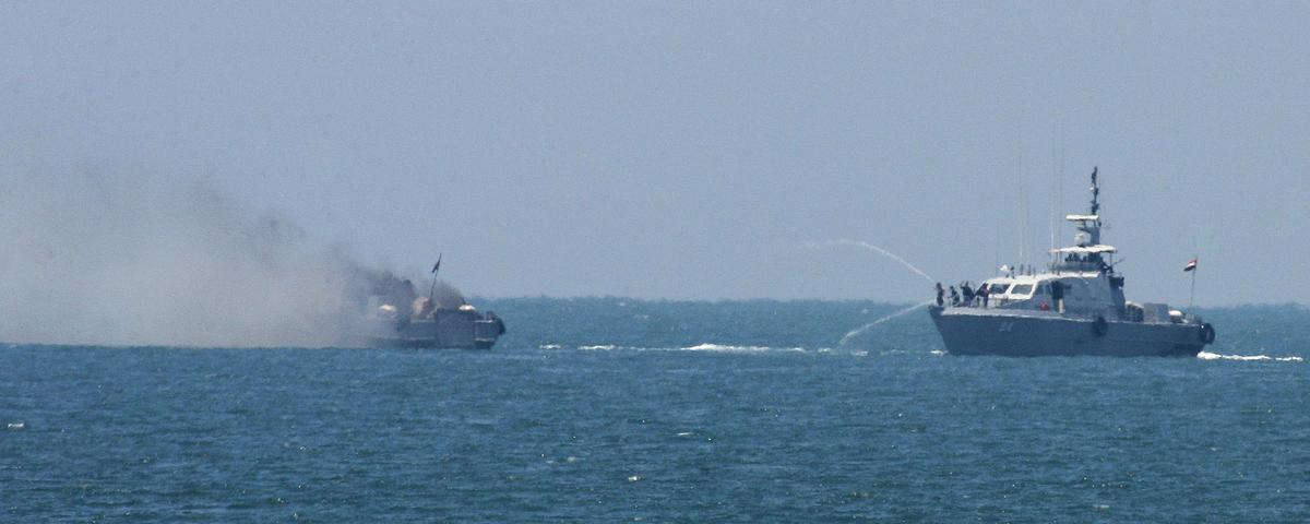 Video Shows Egyptian Warship Ablaze After Attack Claimed by Islamic State Affiliate