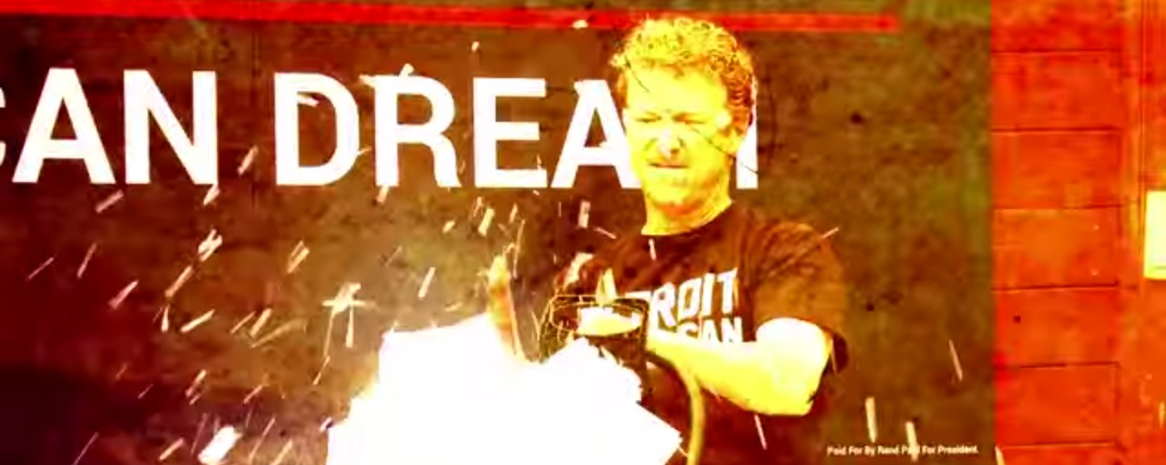 Rand Paul Cuts Up Tax Code With Chainsaw — Then Pays His Late Taxes