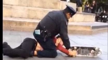 Video Shows NYPD Officer Tackling, Choking, and Pepper-spraying a Skateboarder
