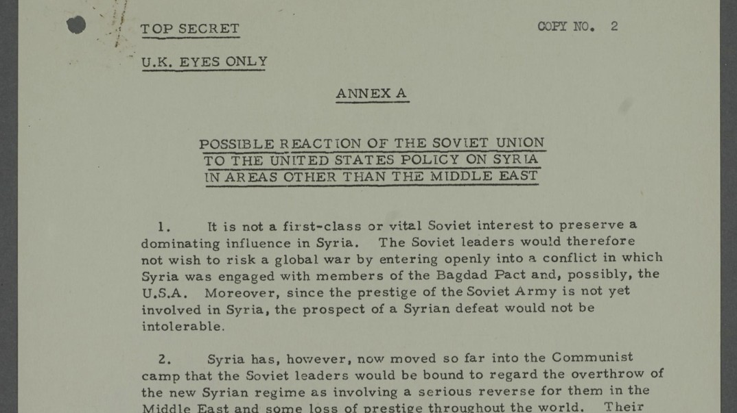The West Worried About Russian Escalation and Proxy War in Syria — in 1957