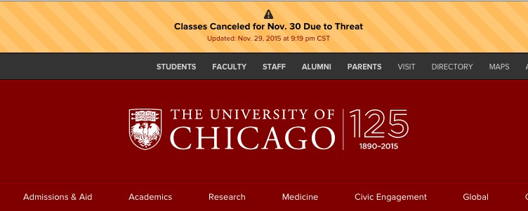 University of Chicago Shuts Down Campus in Response to Threat of Gun Violence