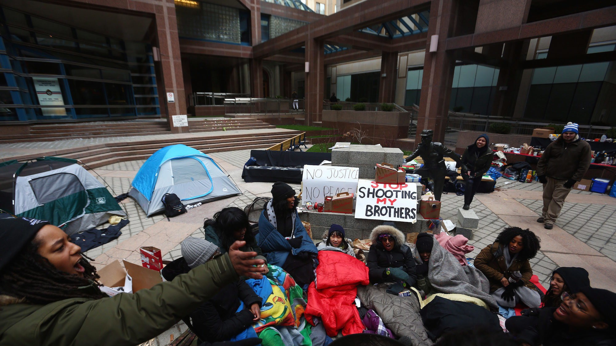 Black Lives Matter Stage Overnight Sit-In Over Decision Not to Charge Cop in Toronto