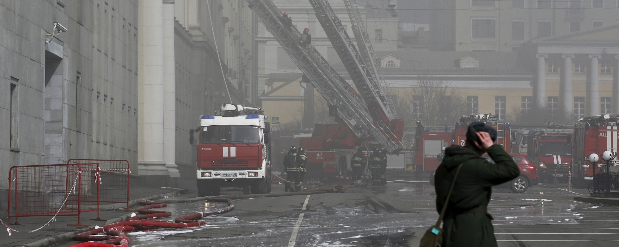 Massive Blaze Tears Through Russia's Ministry of Defense in Moscow