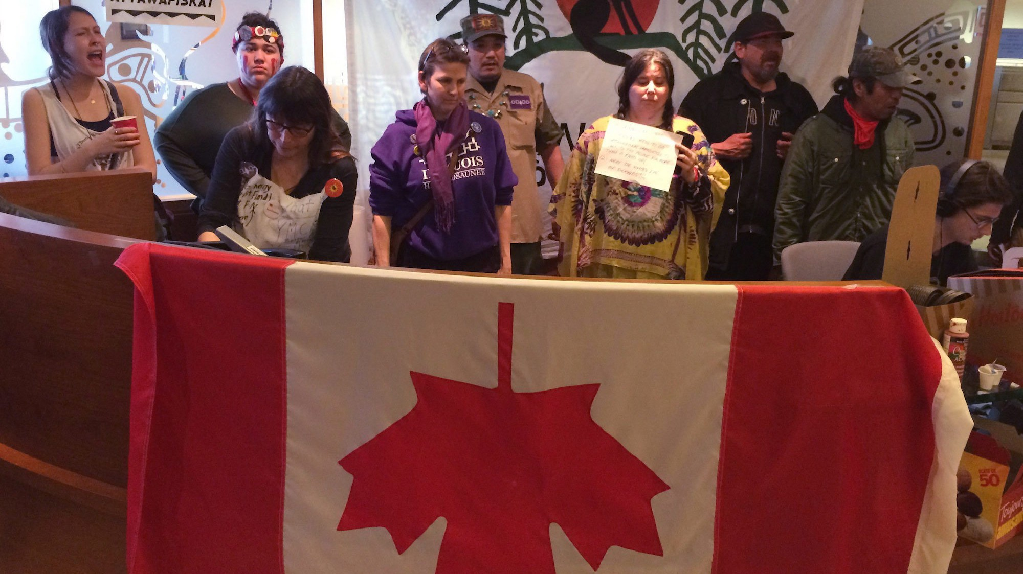 Burning Sweetgrass, Protesters Occupy Canadian Government Office Over Indigenous Suicide Crisis