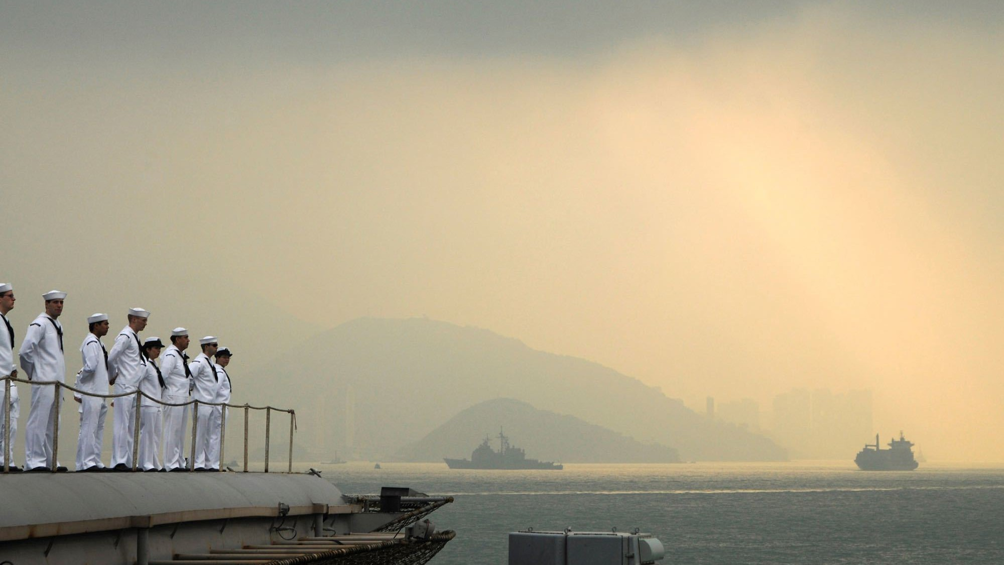 A Chinese spy ship is creeping on a US aircraft carrier near the South China Sea