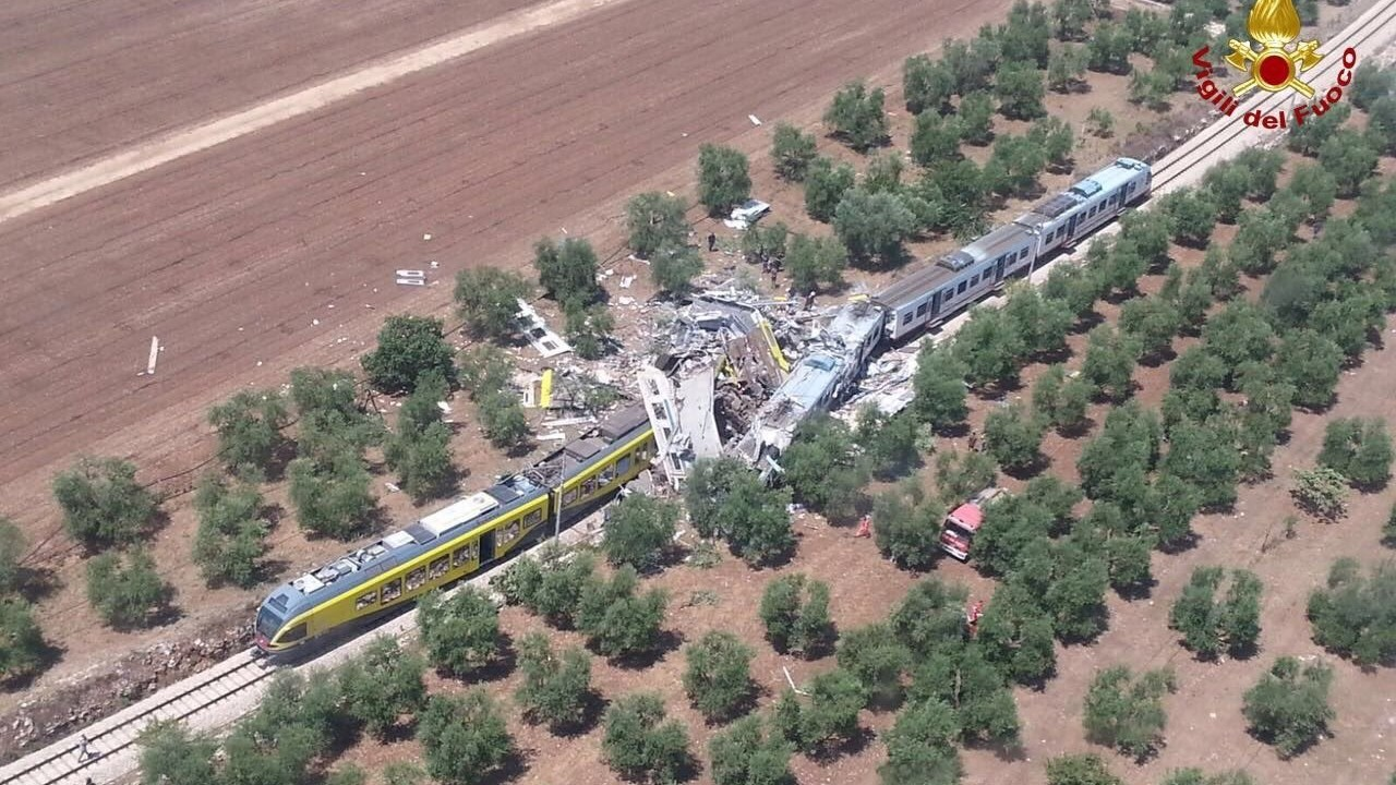At least 20 people died in a train crash in southern Italy