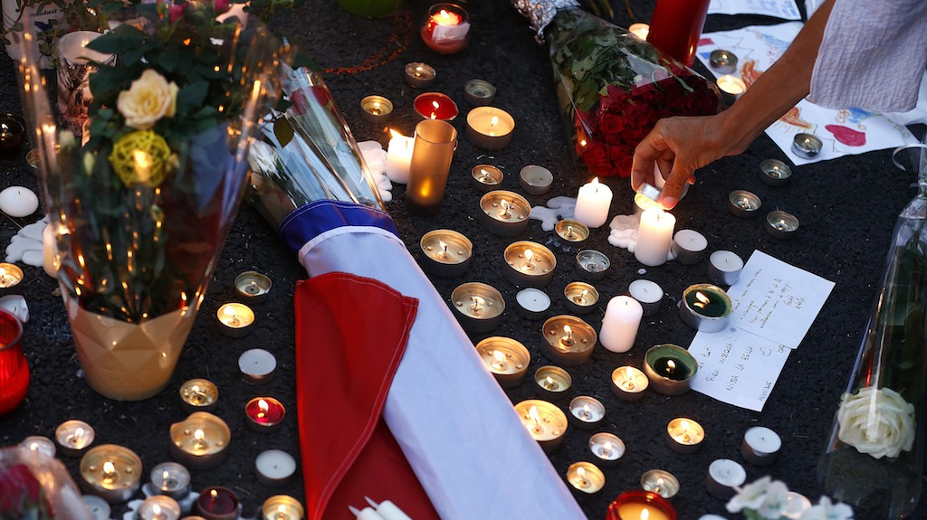Police arrested a man with a machete at a vigil for Nice attack victims