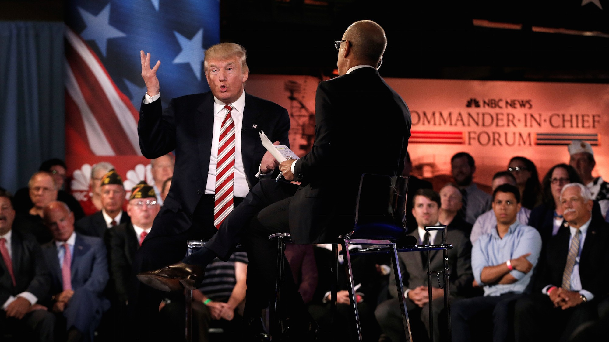 Trump and Clinton share the stage (sort of) at the Commander-in-Chief Forum